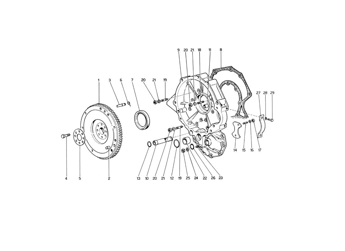 FLYWHEEL AND INTERMEDIATE GEARBOX HOUSING