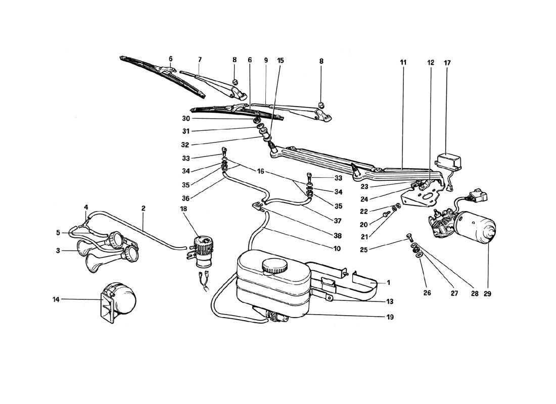 WINDSHIELD WIPER, WASHER AND HORN (VARIANTS FOR RHD - AUS VERSIONS)