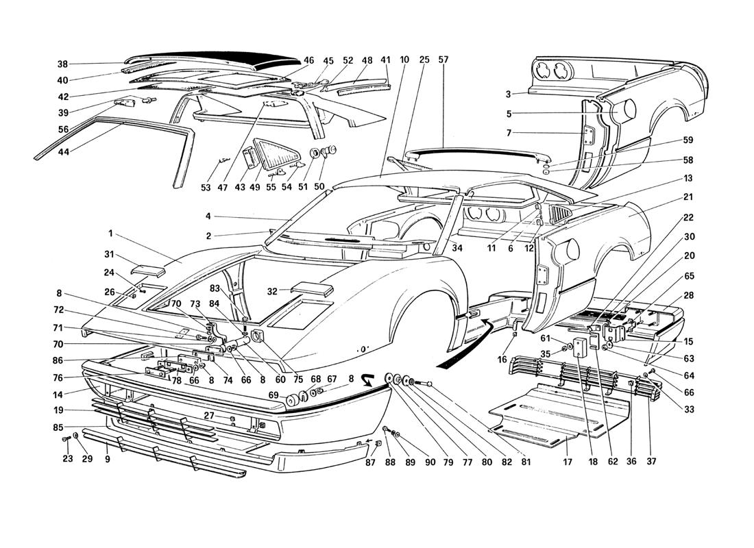 BODY SHELL - OUTER ELEMENTS (FOR U.S. AND SA VERSION)
