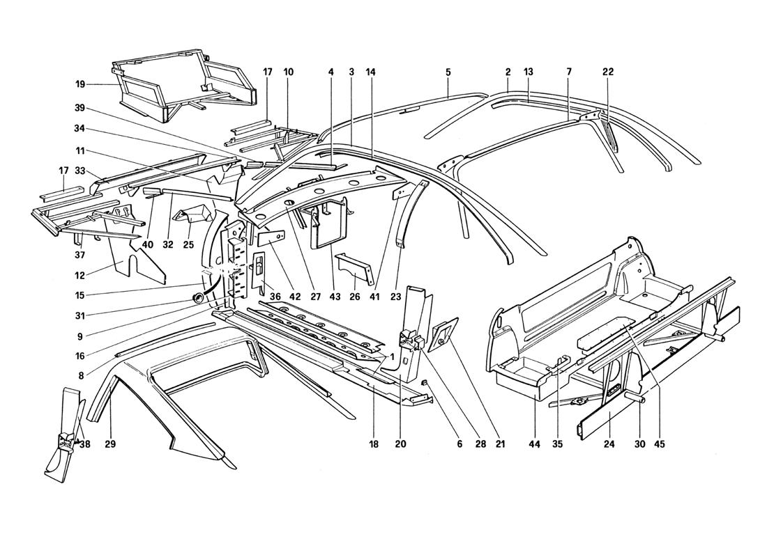 BODY SHELL - INNER ELEMENTS (NOT FOR U.S. AND SA VERSION)