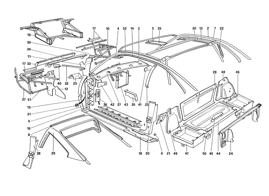 BODY SHELL - INNER ELEMENTS (FOR U.S. AND SA VERSION)