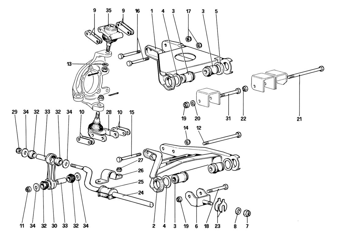 FRONT SUSPENSION - WISHBONES (UP TO CAR NO. 76625)