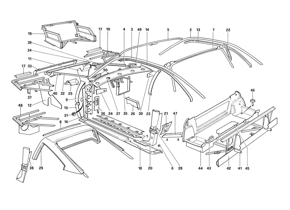 BODY SHELL - INNER ELEMENTS (NOT FOR AUS - US - SA - J - CH87 - CH88)