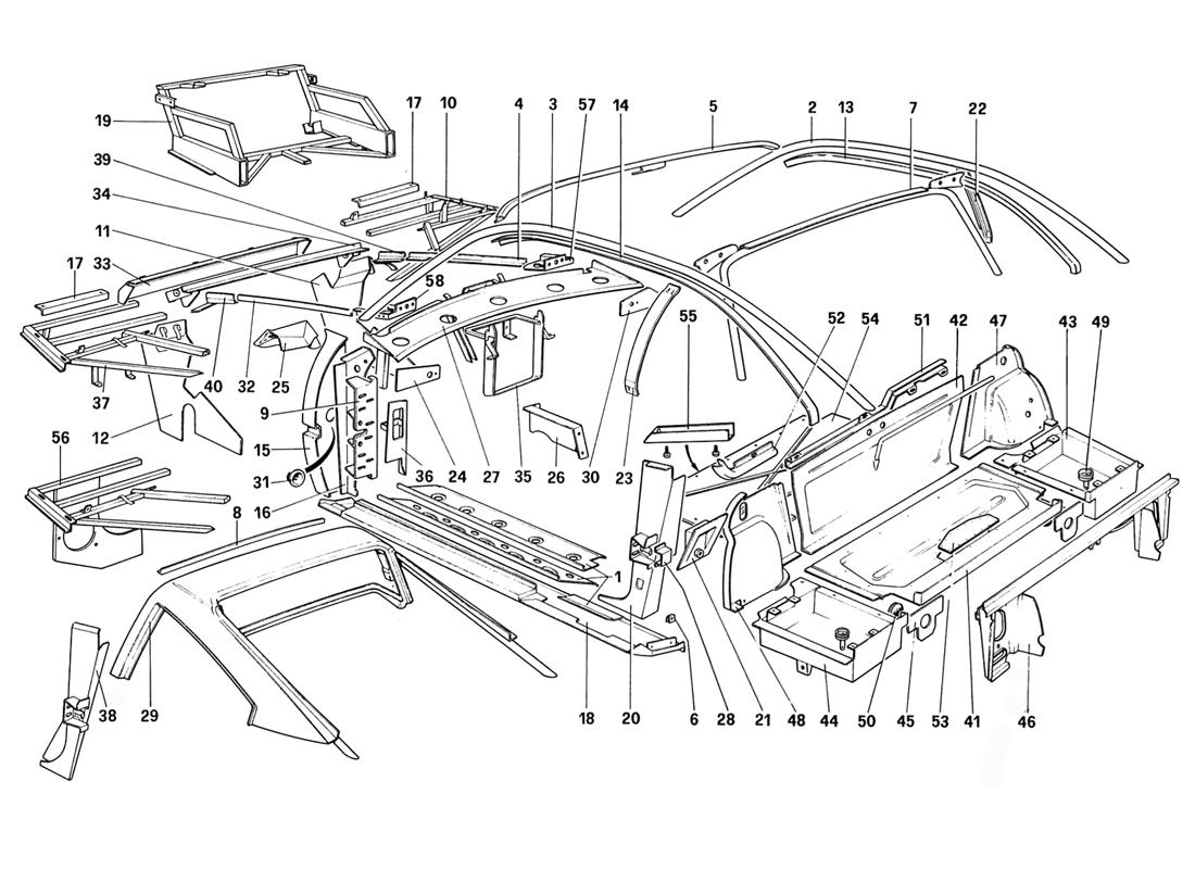 BODY SHELL - INNER ELEMENTS (FOR AUS AND CH87 AND CH88)
