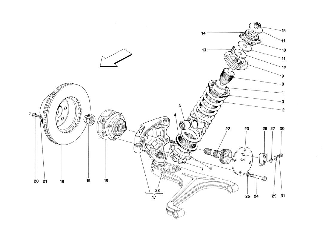 FRONT SUSPENSION - SHOCK ABSORBER AND BRAKE DISC - VALID FROM CAR ASS. NR. 8799