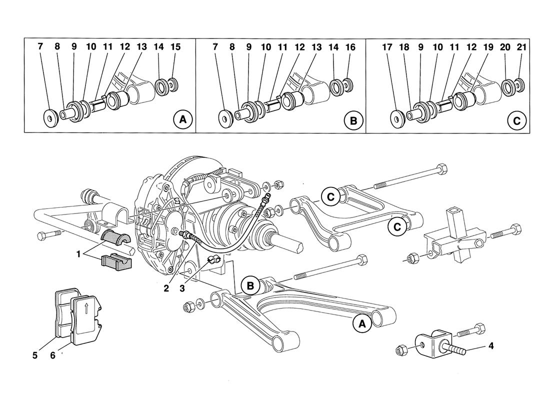 REAR SUSPENSION PADS AND BRAKE PIPES