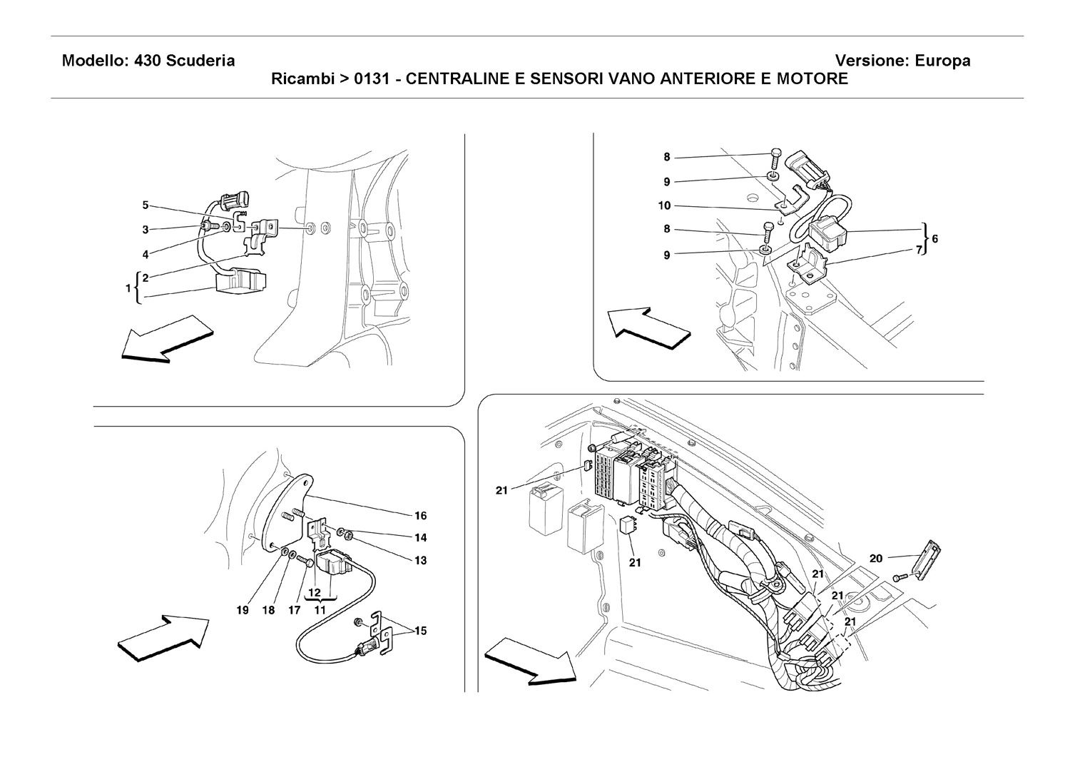 FRONT AND MOTOR COMPARTMENTS ELECTRICAL BOARDS AND