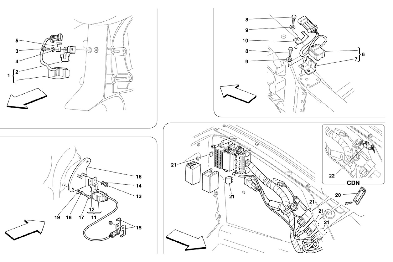 FRONT AND MOTOR COMPARTMENTS ELECTRICAL BOARDS AND SENSOR