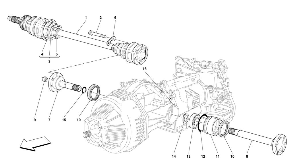 FLANGES AND AXLE SHAFT -VALID FOR 456 GTA