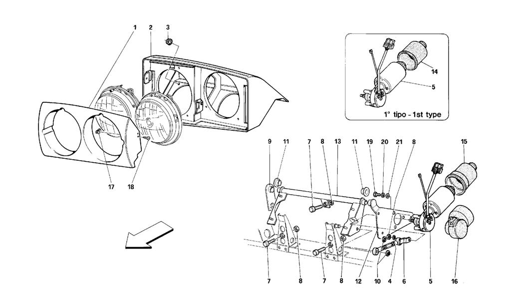 FRONT HEADLIGHT LIFTING DEVICE
