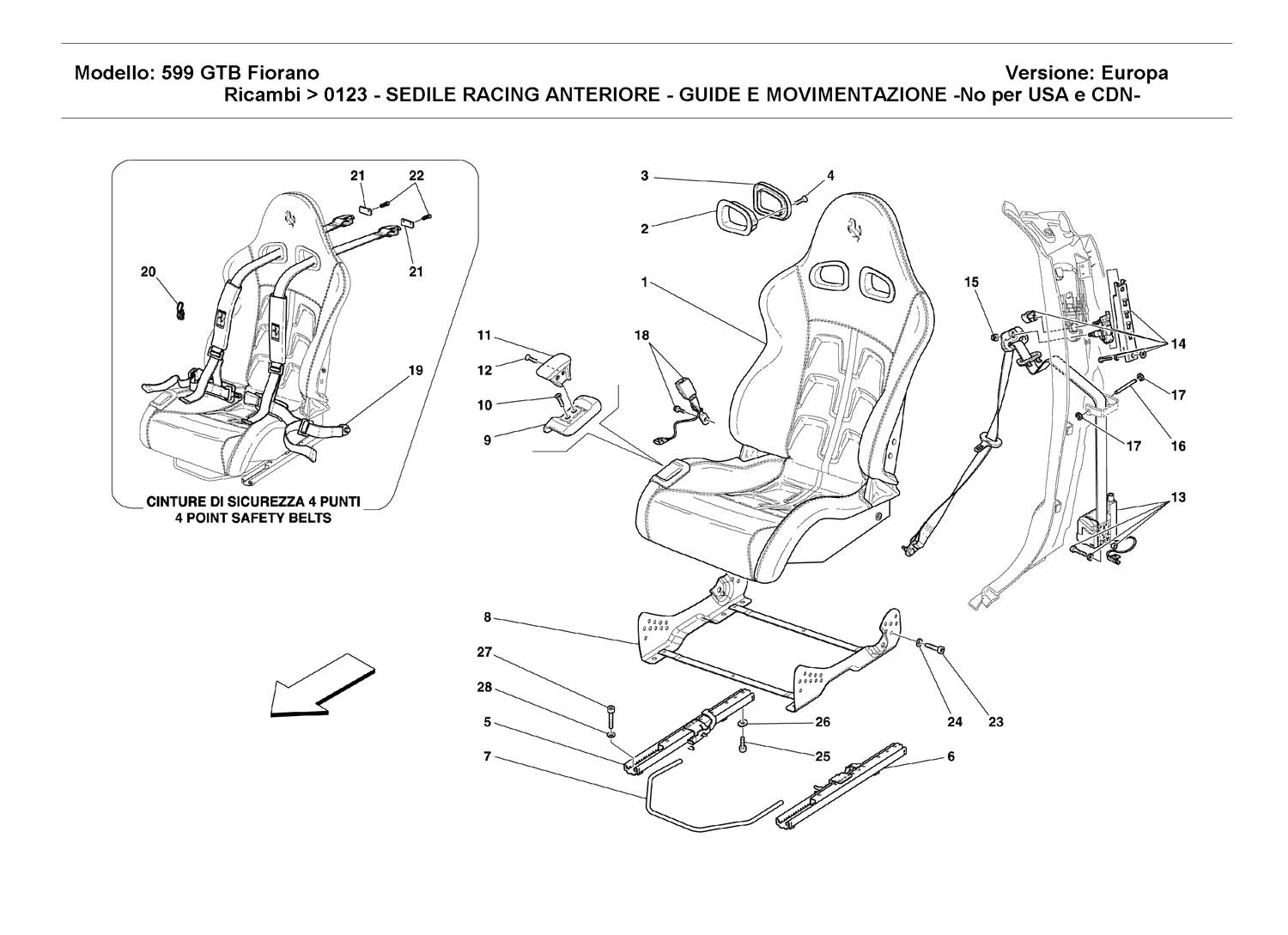 FRONT RACING SEAT - GUIDE AND MOVEMENT -Not for USA and CDN-