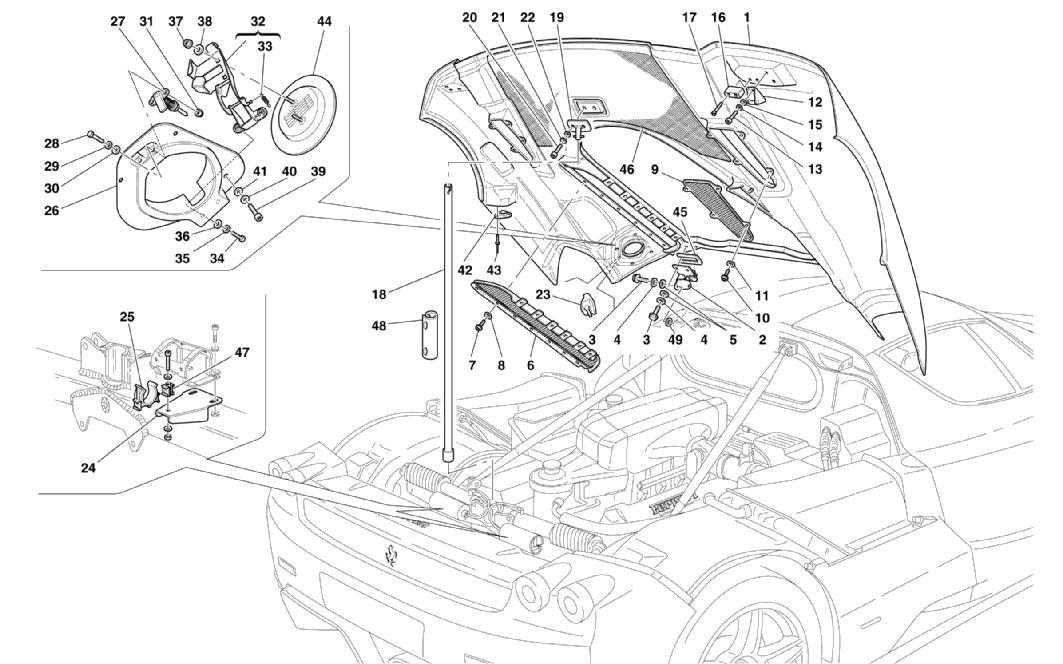 ENGINE BONNET AND GAS DOOR