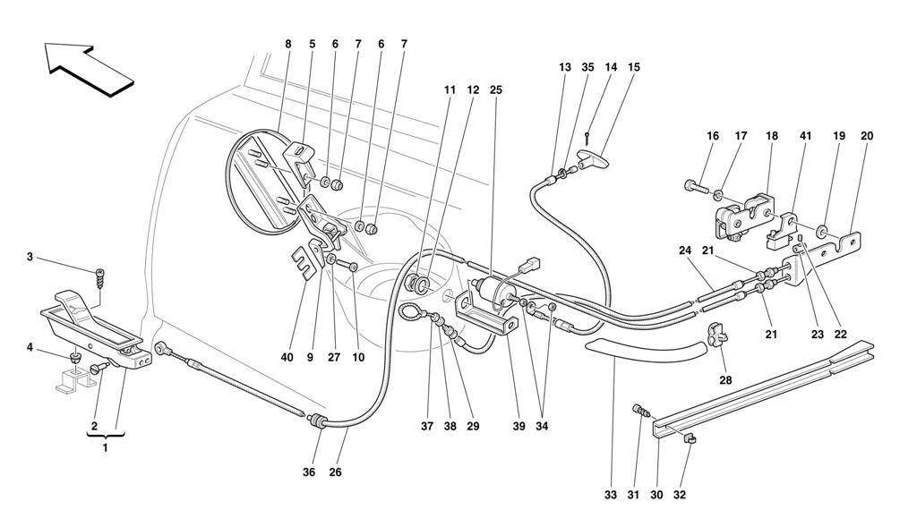 OPENING DEVICES FOR REAR HOOD AND GAS DOOR