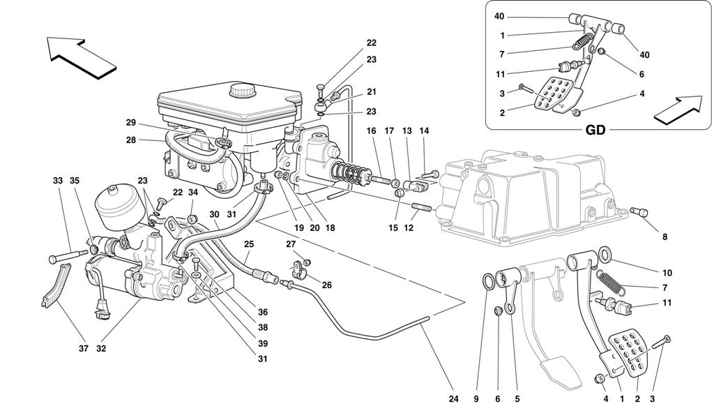 BRAKE HYDRAULIC SYSTEM -NOT FOR ABS BOSCH AND 355 F1 CARS-