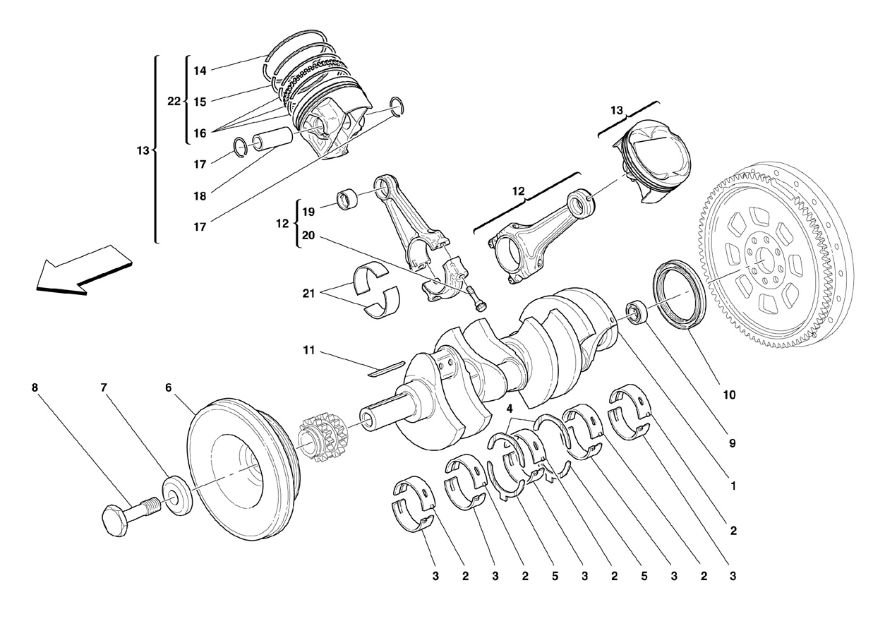 DRIVING SHAFT - CONNECTING RODS AND PIS