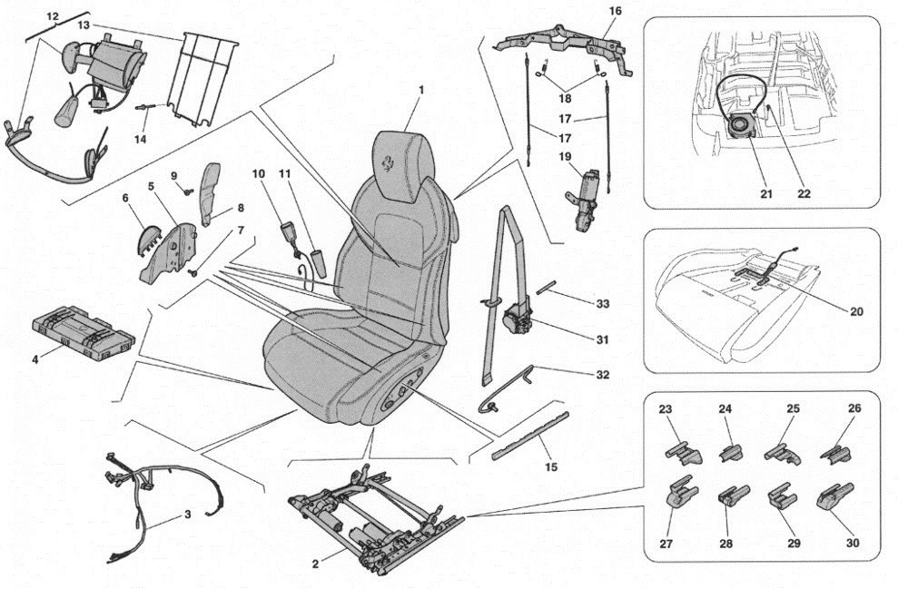 FRONT SEAT - SEAT BELTS, GUIDES AND ADJUSTMENT