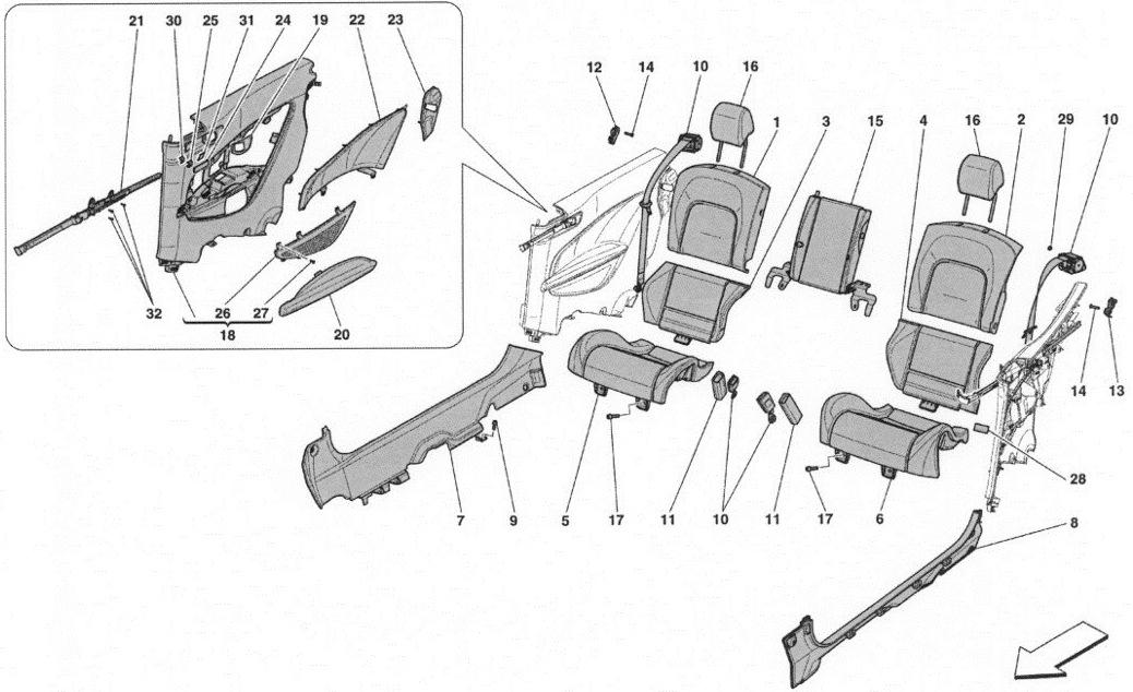 REAR SEAT - SEAT BELTS - INTERIOR TRIM
