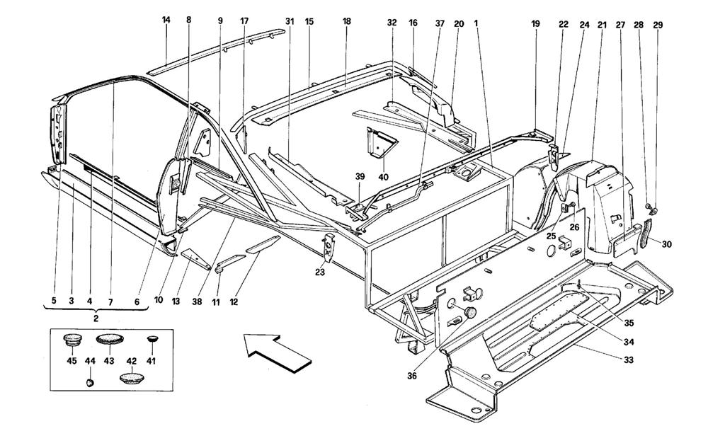 BODY SHELL: INNER ELEMENTS - REAR PART -COUP