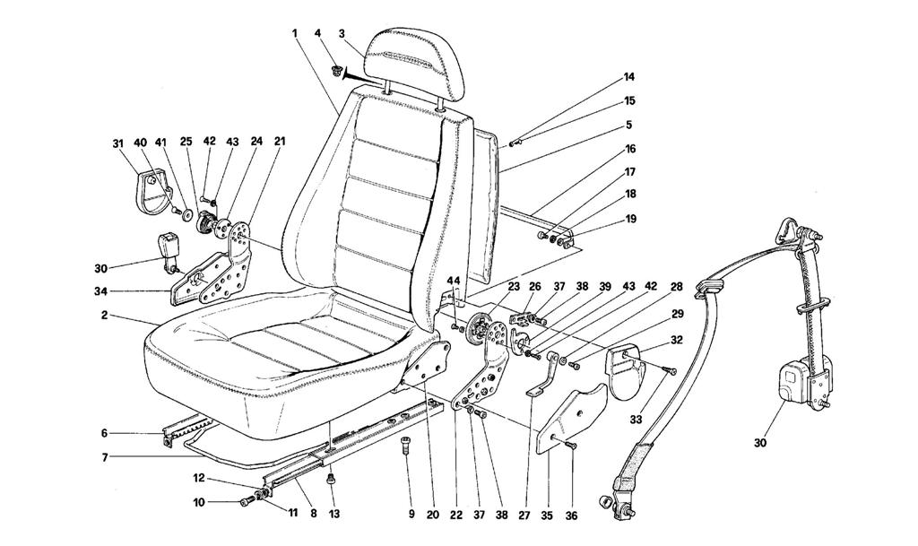 FRONT SEATS -NOT FOR PASSIVE BELTS-