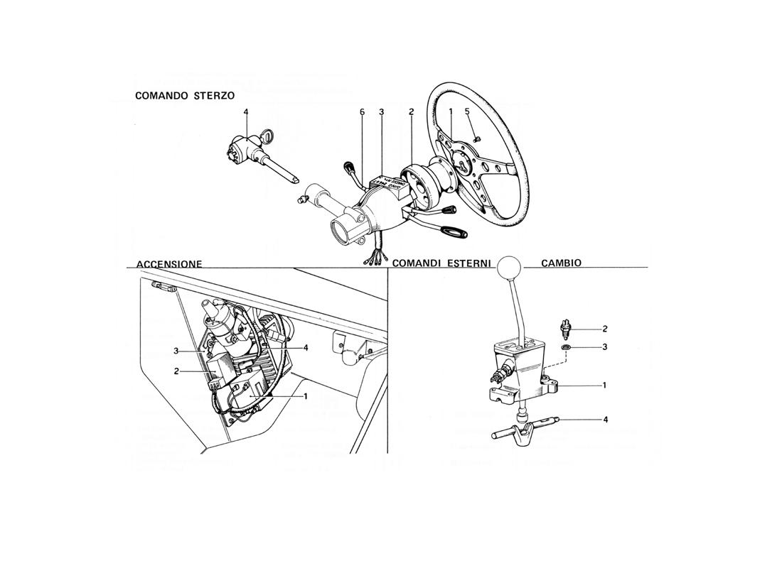 STEERING CONTROL, ENGINE IGNITION AND GEARBOX OUTER CONTROLS (VARIANTS FOR USA VERSIONS)