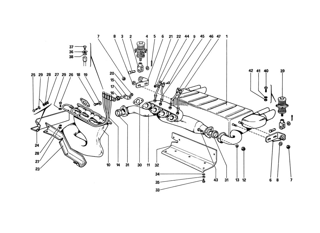 EXHAUST SYSTEM (VARIANTS FOR AUS VERSION)