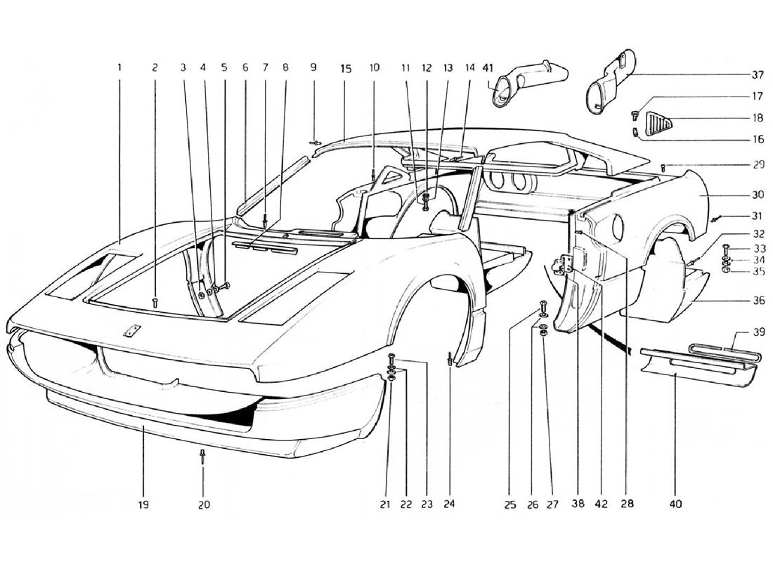 BODY SHELL - OUTER ELEMENTS (VALID FOR RHD - AUS VERSIONS)