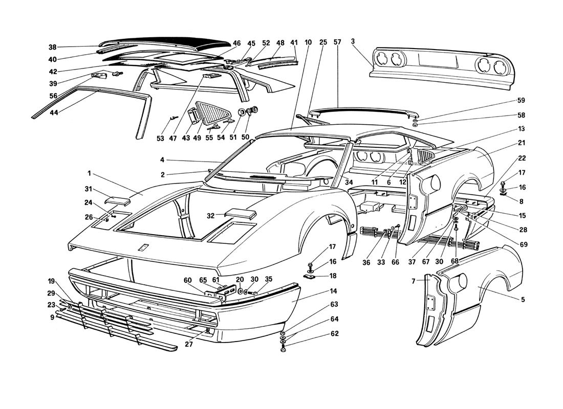 BODY SHELL - OUTER ELEMENTS (NOT FOR U.S. AND SA VERSION)