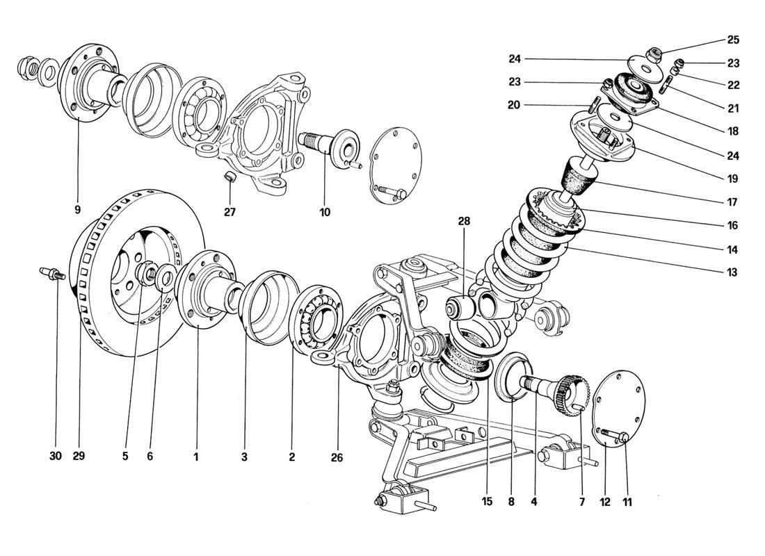 FRONT SUSPENSION - SHOCK ABSORBER AND BRAKE DISC (STARTING FROM CAR NO. 76626)