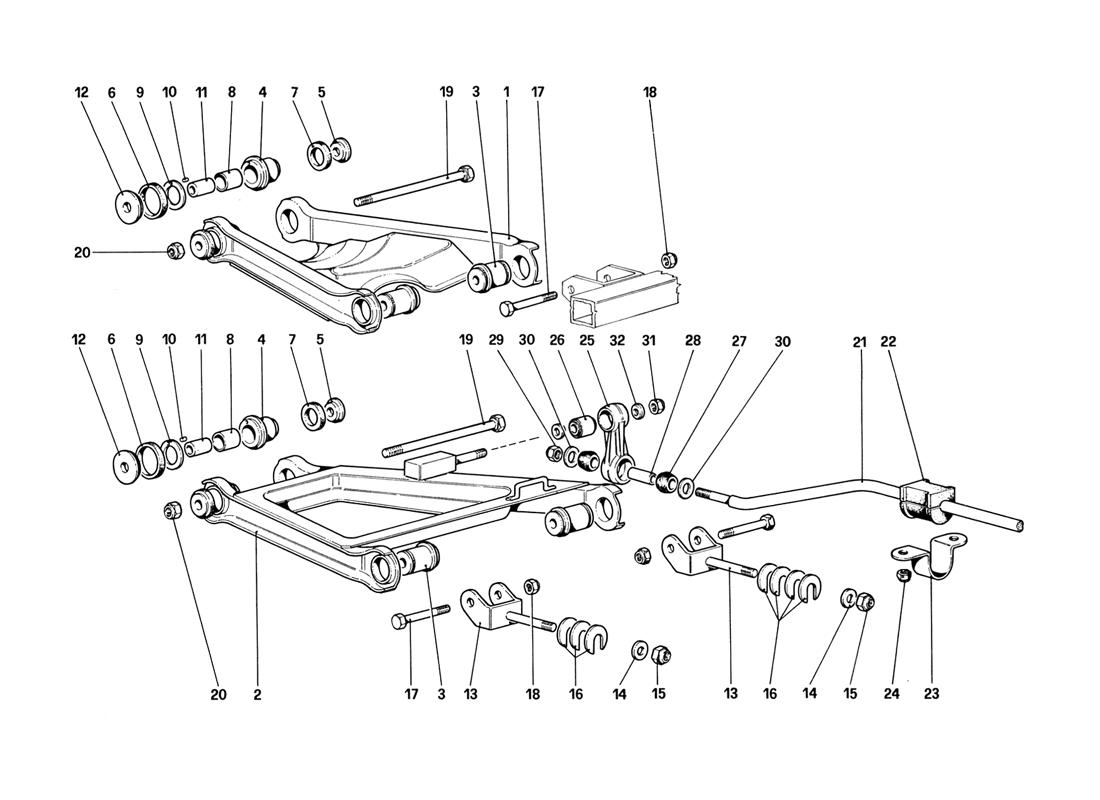 REAR SUSPENSION - WISHBONES (UP TO CAR NO. 76625)