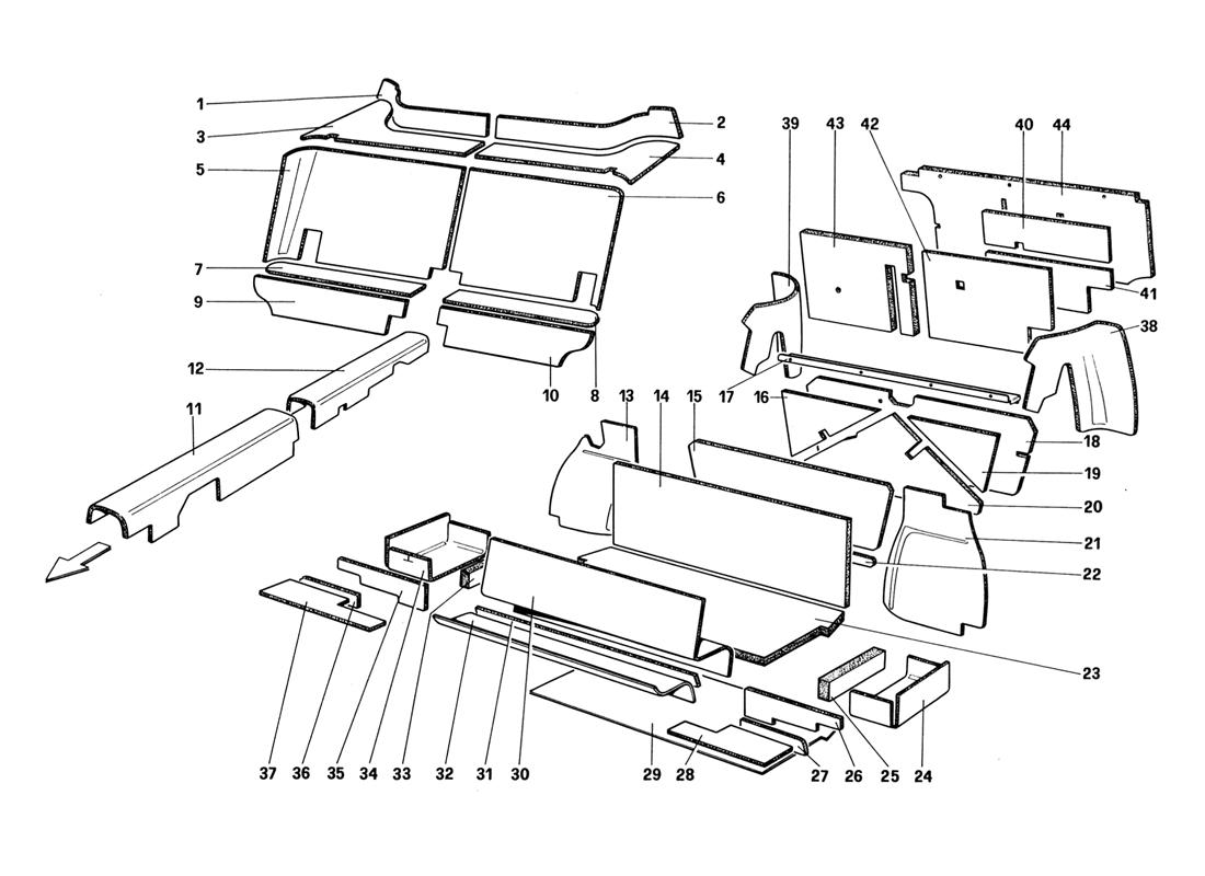 LUGGAGE AND PASSENGER COMPARTMENT INSULATION (UNTILL CAR NO. 66965 - NOT FOR US - AUS - CH87 - SA - J)
