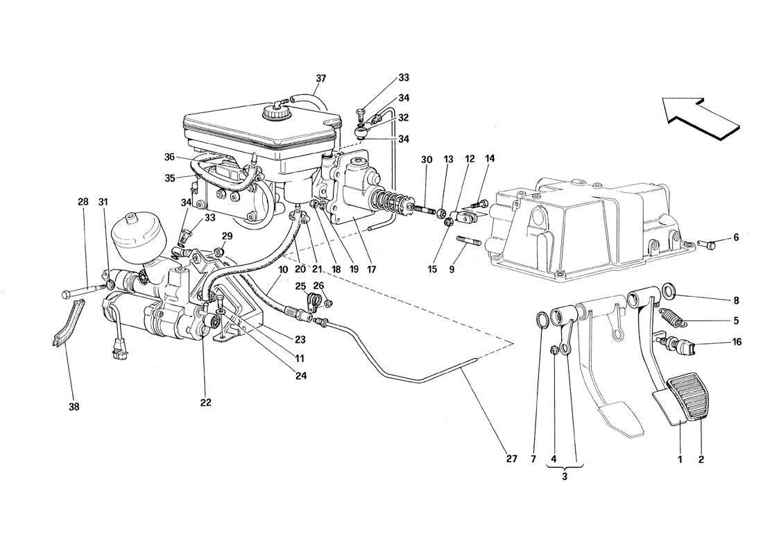 THROTTLE PEDAL AND BRAKE HYDRAULIC SYSTEM - VALID FOR RHD