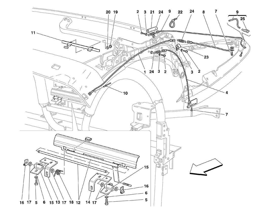 CAPOTE MECHANISM AND TIE RODS