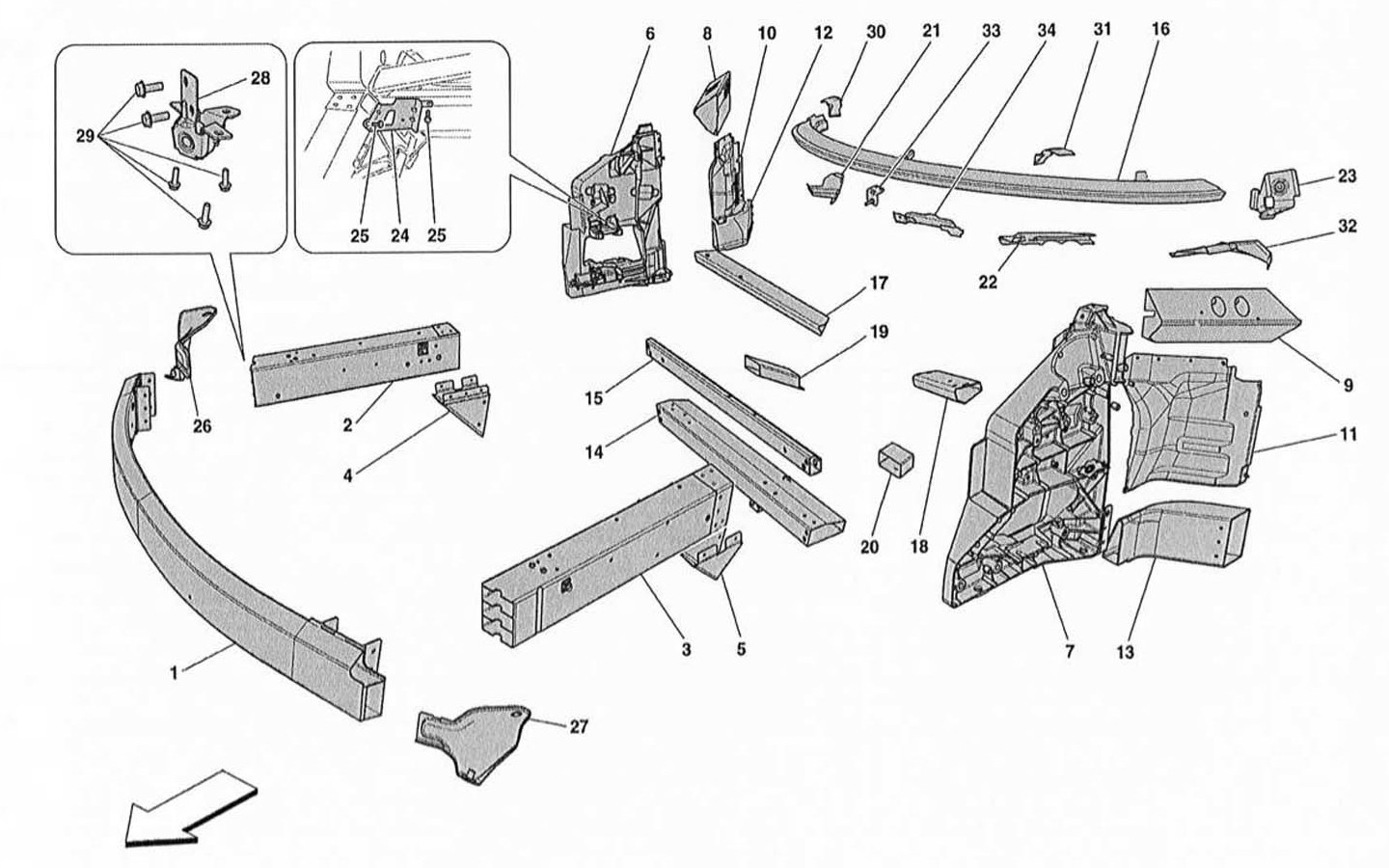 CHASSIS – STRUCTURE AND FRONT ELEMENTS AND PANELS