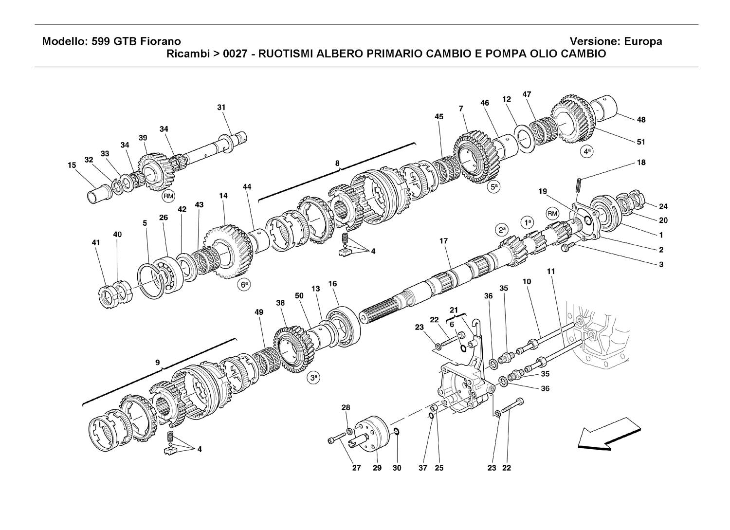 MAIN SHAFT GEARS AND CLUTCH OIL PUMP