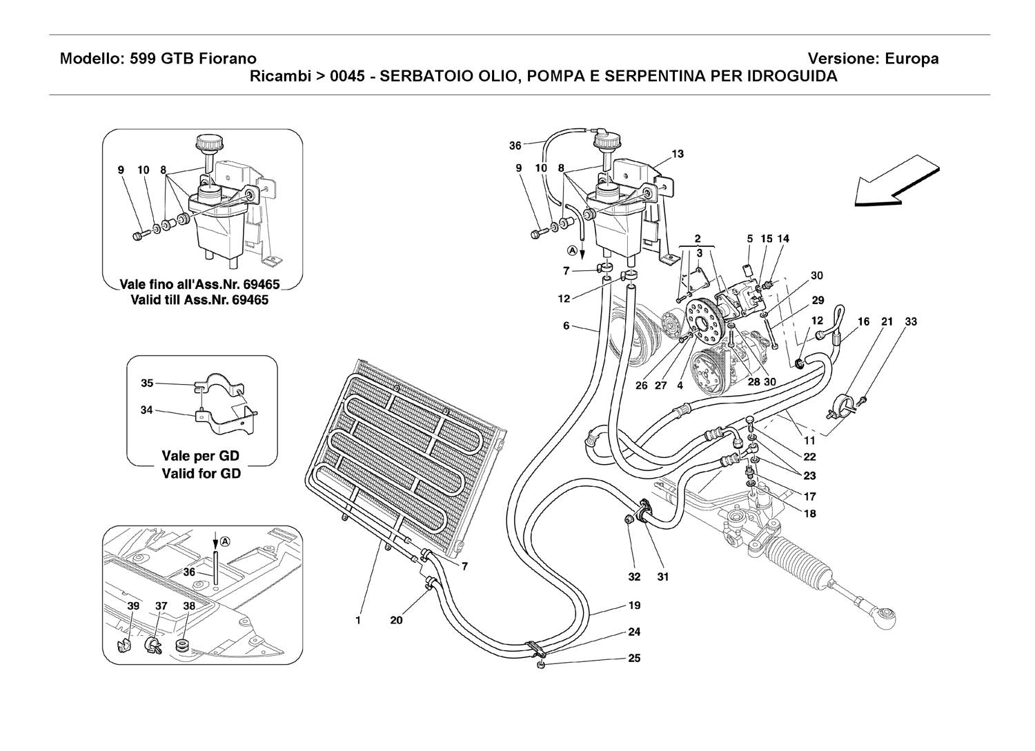 OIL TANK, PUMP AND SERPENTINE FOR SERVOSTEERING