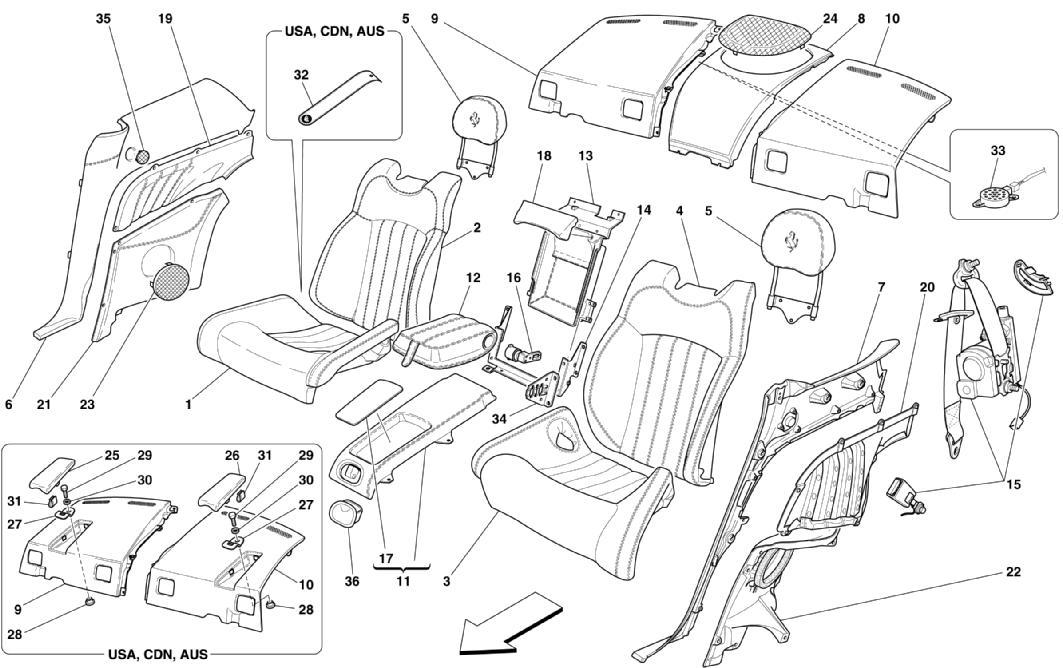 REAR SEAT - SAFETY BELTS