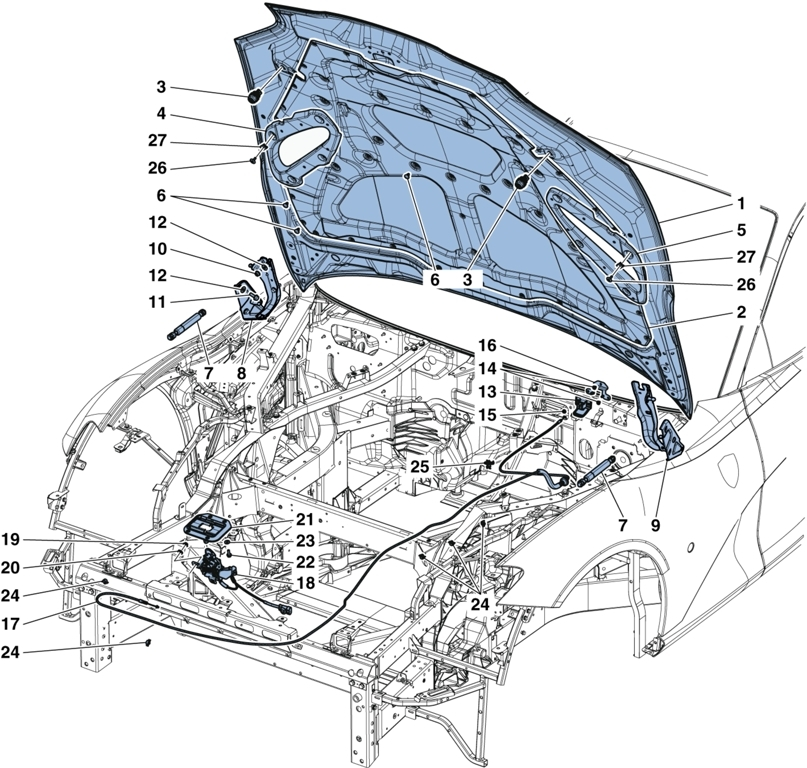 ENGINE LID OPENING DEVICES