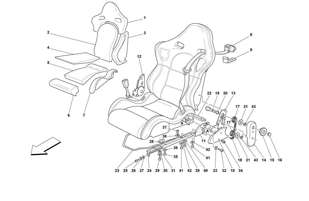 SEATS AND SAFETY BELTS -SPORT-NOT FOR SPIDER-