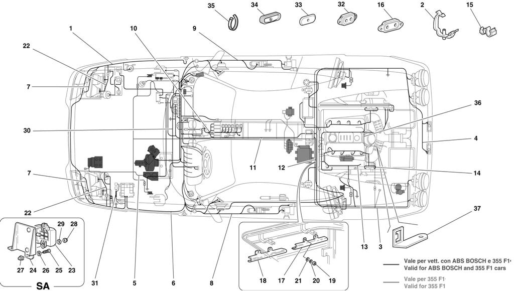 Ferrari F355 M5 2  1996   Electrical System -valid For Abs Bosch And 355 F1 Cars-