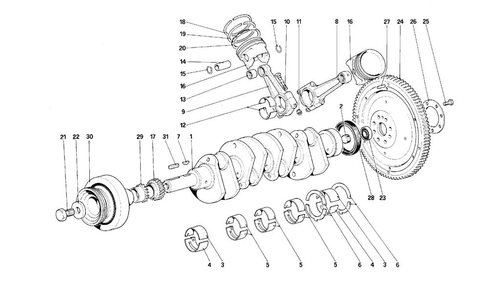 DRIVING SHAFT - CONNECTING RODS AND PISTONS - MOTOR FLYWHEEL