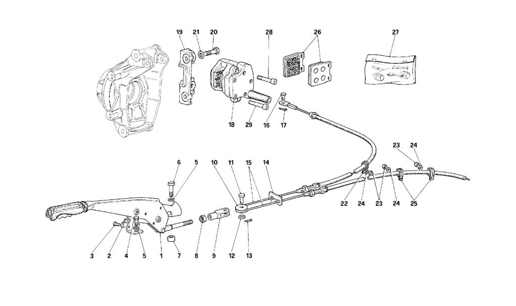 HAND-BRAKE CONTROL AND CALIPER