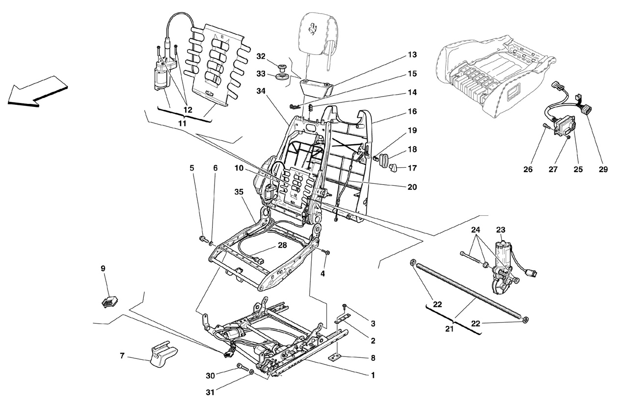 ELECTRICAL SEAT - GUIDE AND MOVEMENT -O