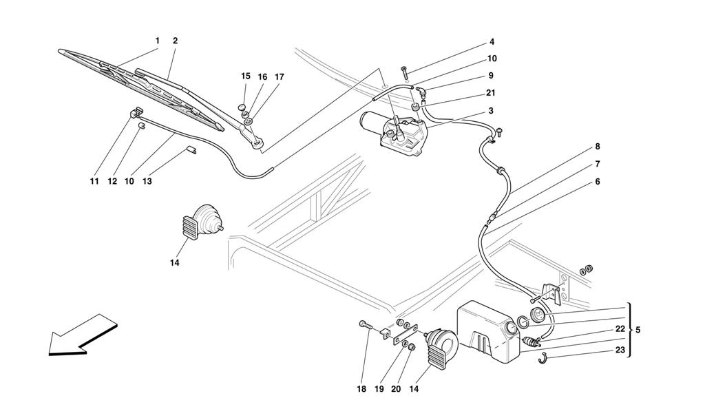 WINDSHIELD WIPER, WINDSHIELD WIPER CONTAINER AND HORNS