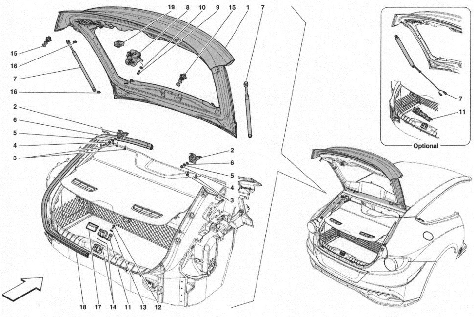 REAR LID AND OPENING MECHANISM