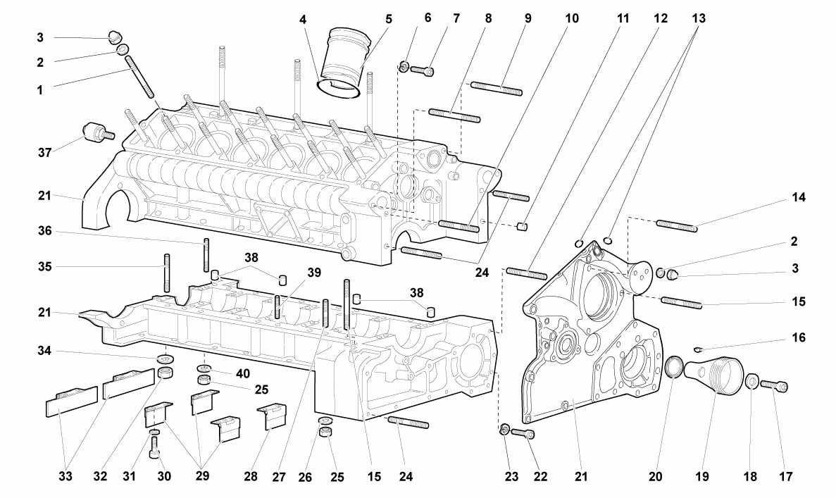 CRANKCASE AND LOWER MOUNTING