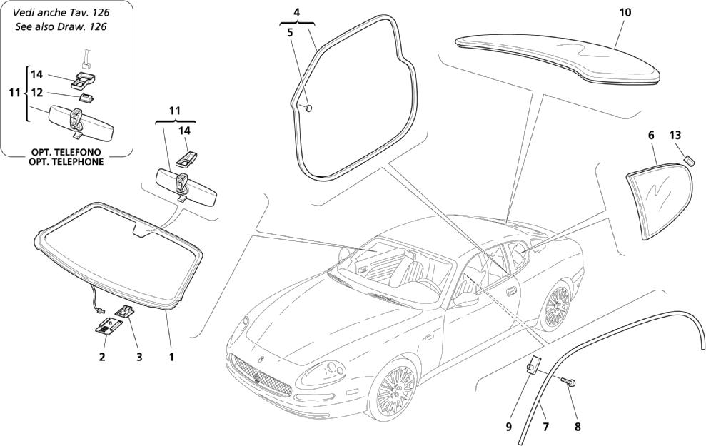 GLASSES - GASKETS AND INNER REARWIEW MIRROR