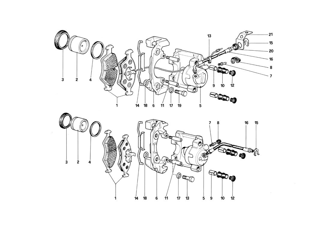 CALIPERS FOR FRONT AND REAR BRAKES (VALID FOR RHD-FOR LHD FROM CHASSIS NO. 43013)