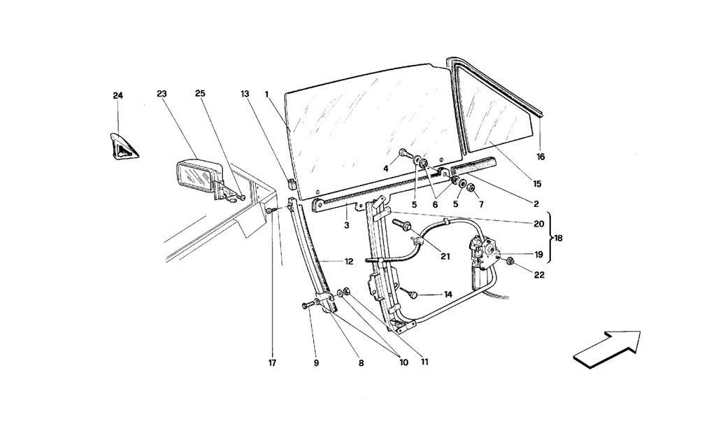 DOORS -CABRIOLET- GLASS LIFTING DEVICE AND REAR MIRROR
