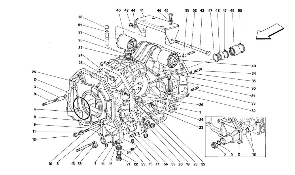 GEARBOX HOUSING AND INTERM. CASING -VALID FOR CARS WITH 3P