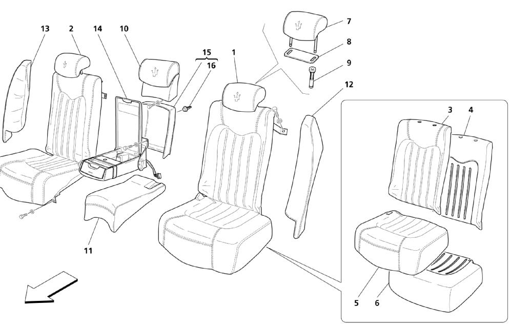 REAR SEATS: LININGS (Page 1/2) (See validity on no